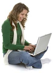 Girl using computer to sell online