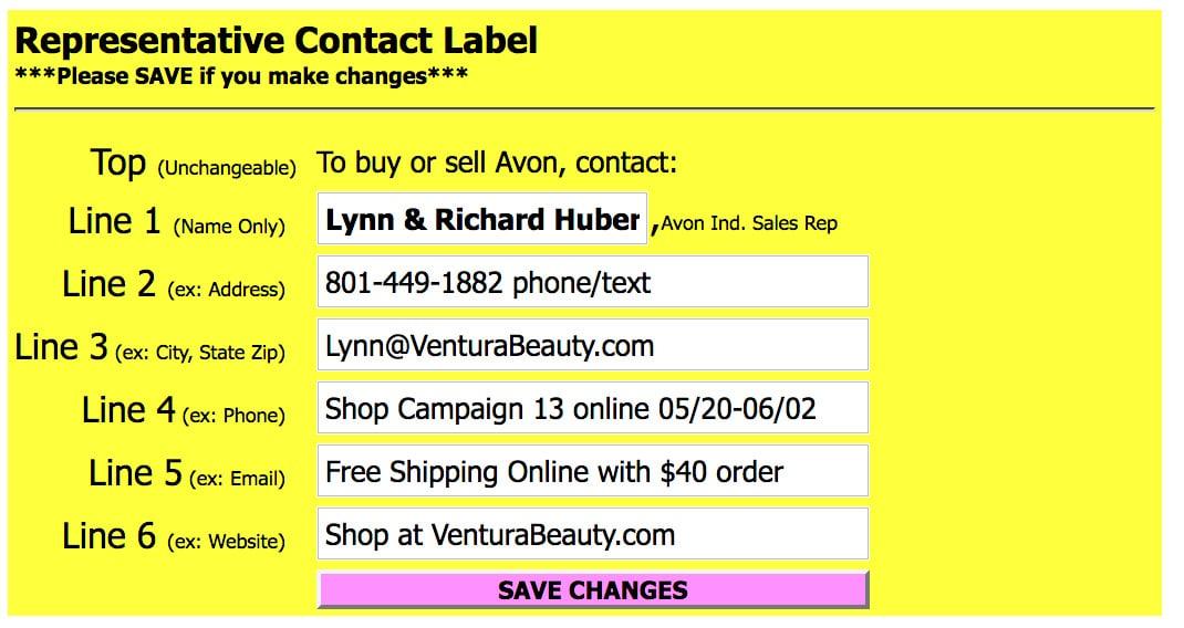 Avon Campaign Mailer Label