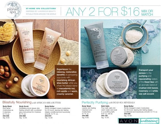 Avon Fundraising Planet Spa Flyer C-08-16, 2017