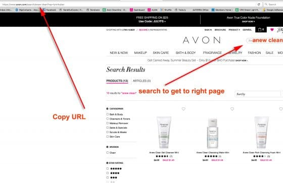 How To Find The URL For Specific Avon Products