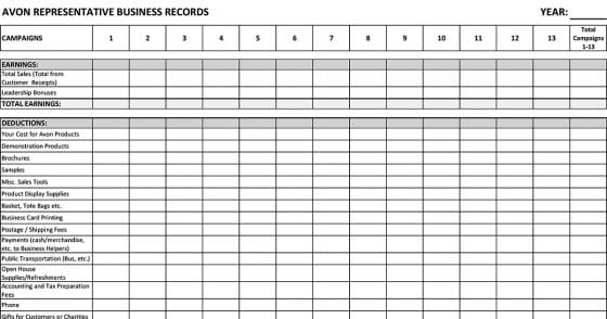 Avon Representative Business Records