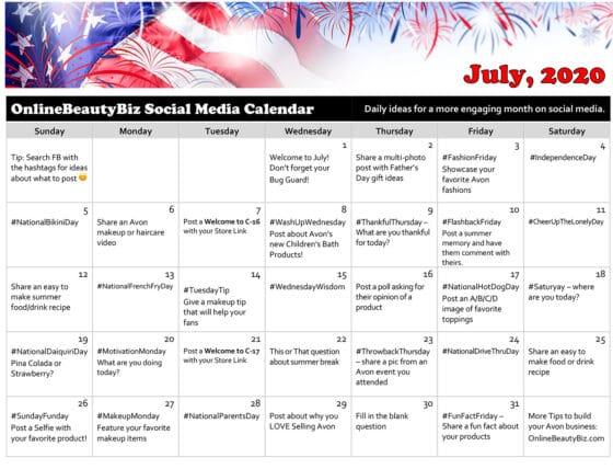 July, 2020 Social Media Calendar