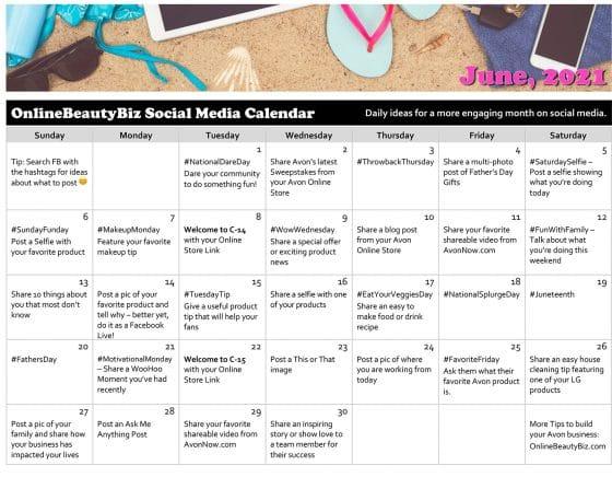 June 2021 Social Media Posts Calendar