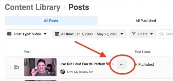 Facebook Content Library - Posts