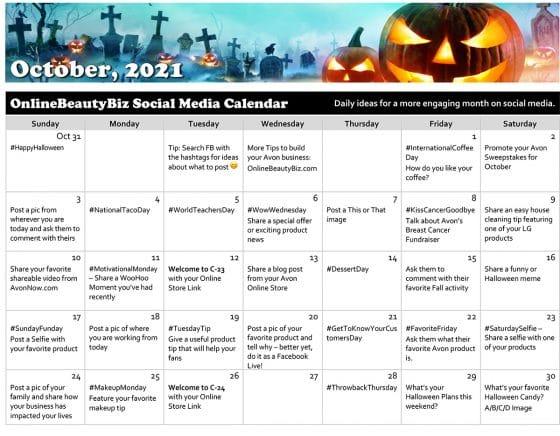 October 2021 Social Media Posts Calendar